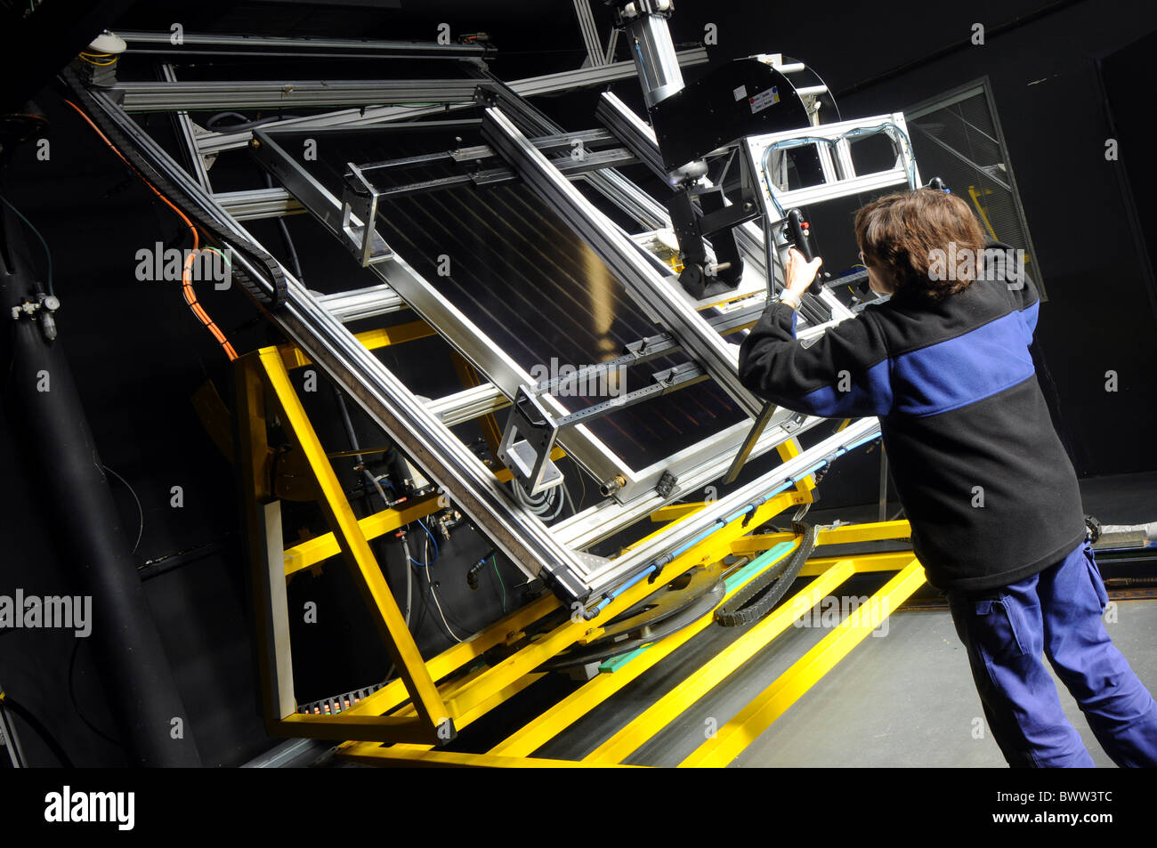 Solar panel light testing research room at the National Renewable Energy Centre in Navarra, Spain - Stock Image