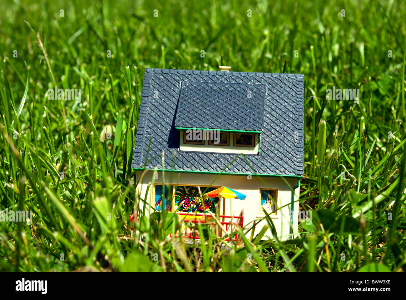 model house on grass - Stock Image
