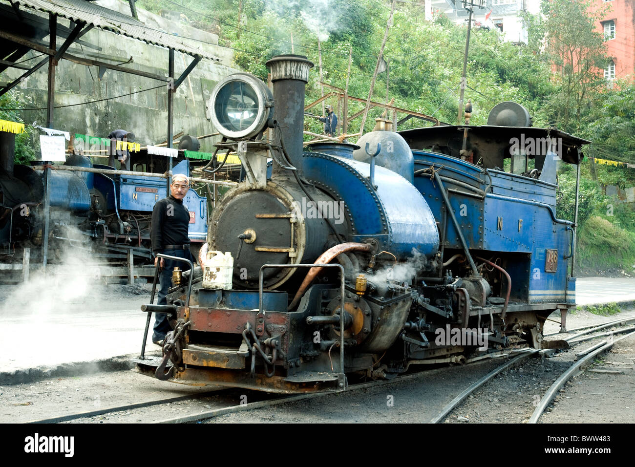 Old steam locomotives with a British origin still function on the Darjeeling-based Himalayan railway Stock Photo