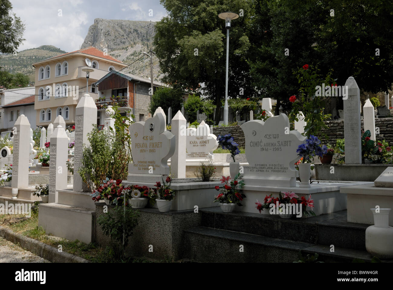 Before Bosnian war this was a public park and after a graveyard. Marsala Tita, Mostar Town, Herzegovina - Neretva - Stock Image