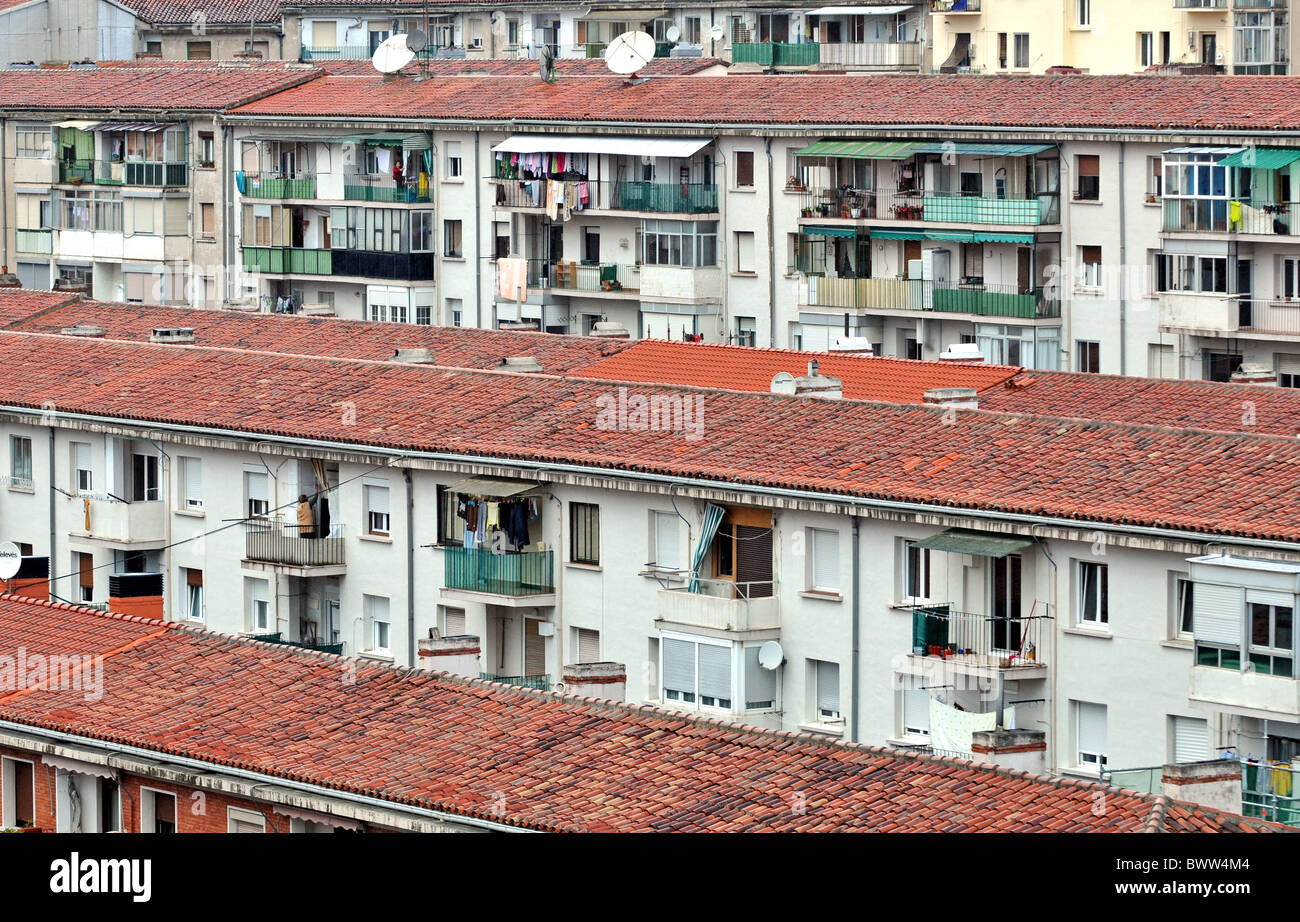 Residential homes and buildings in Pamplona, Spain - Stock Image