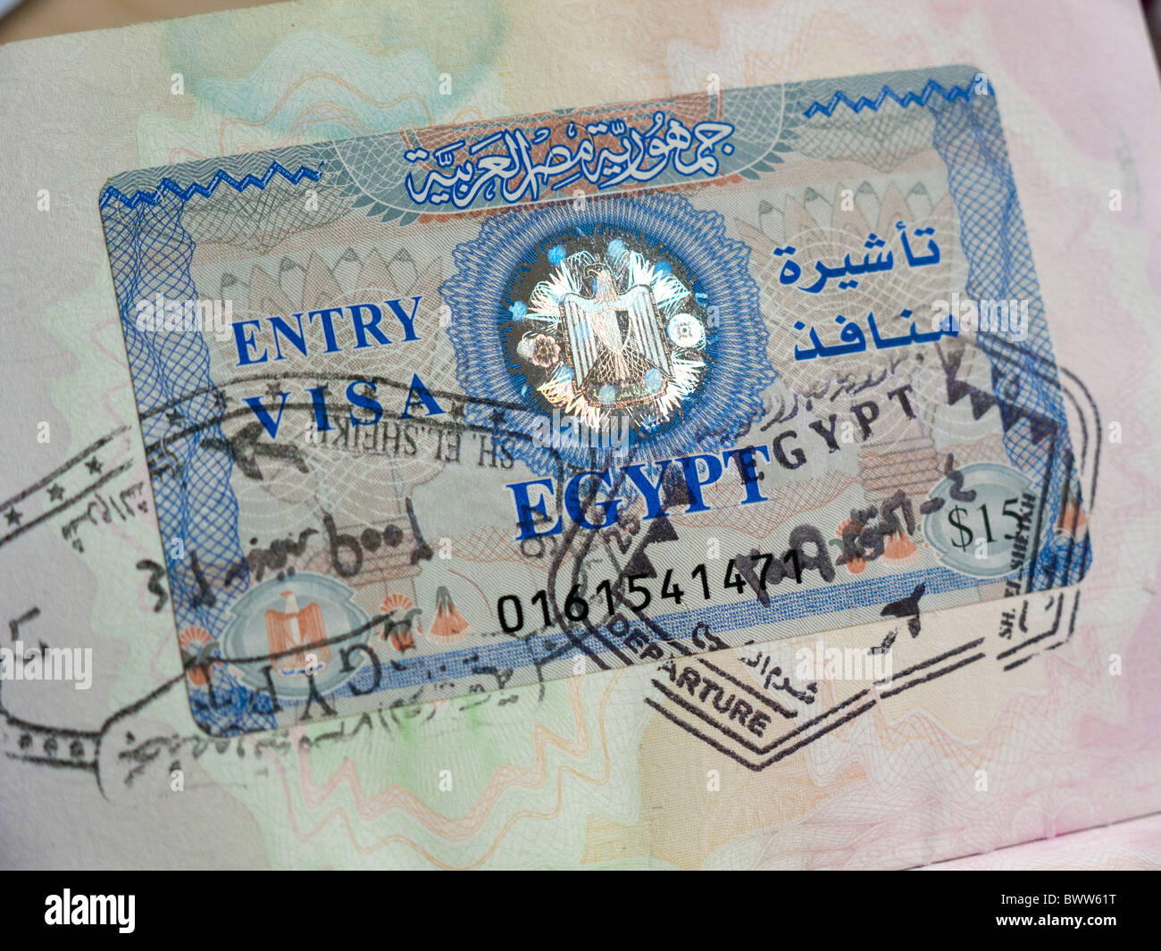 Egyptian visa in a passport - Stock Image