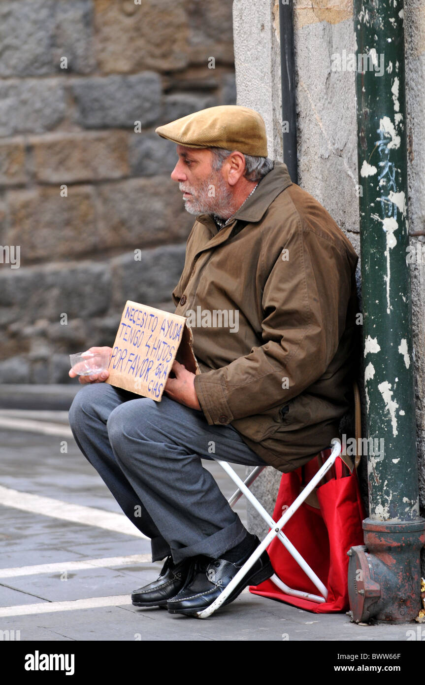Beggar on the street in Spain - Stock Image