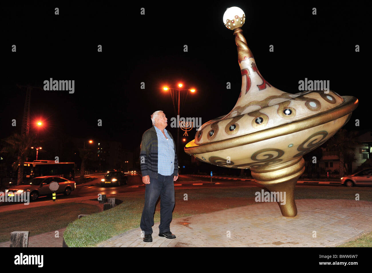 The Biggest Spinning Top In Israel For Hanukkah - Stock Image