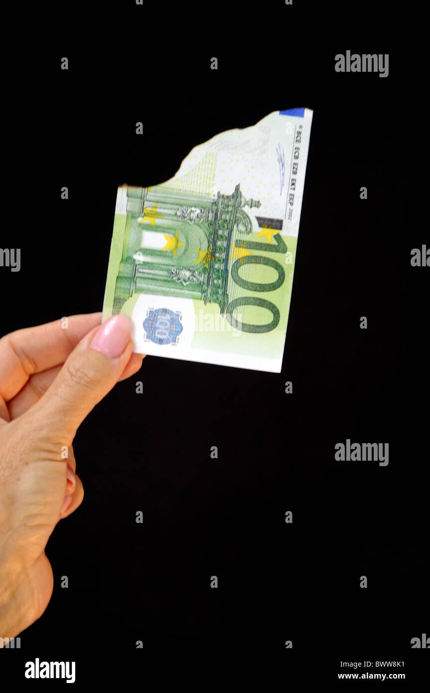 Money note bill 100 one hundred Euro flame fire cash destroy broken depreciation inflation financial crisi - Stock Image