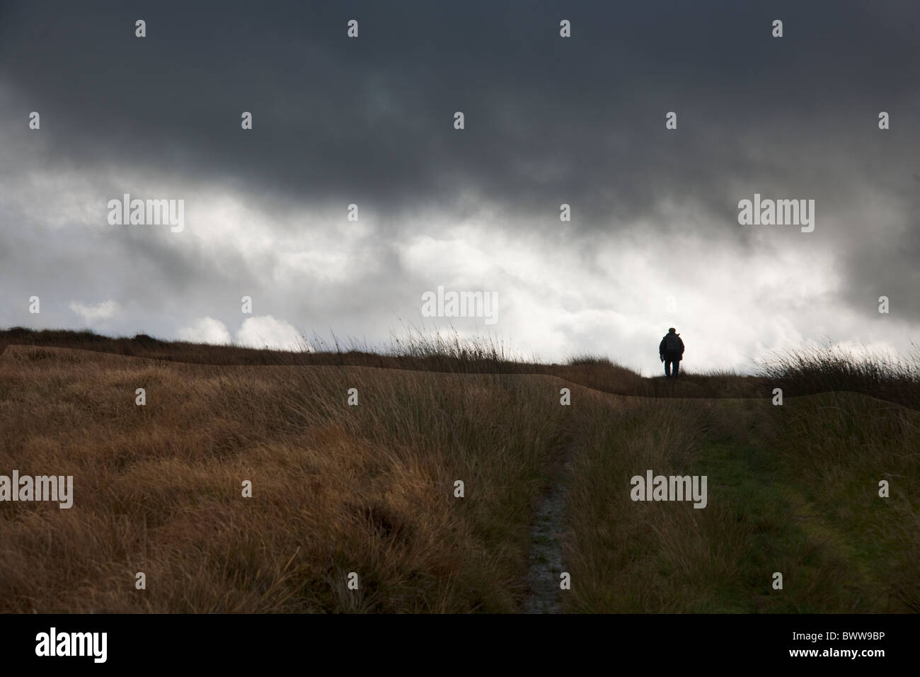 Lone walker under heavy sky on footpath near Moel Eiliol, Dolgarrog, North Wales - Stock Image
