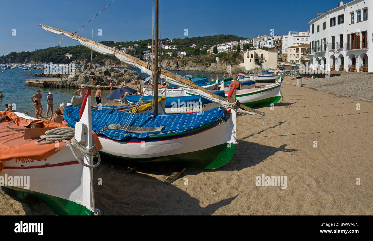 Spain Europe Port Bo Calella de Palafrugell Costa Brava Catalonia city town Summer Beach Mediterranean sea - Stock Image
