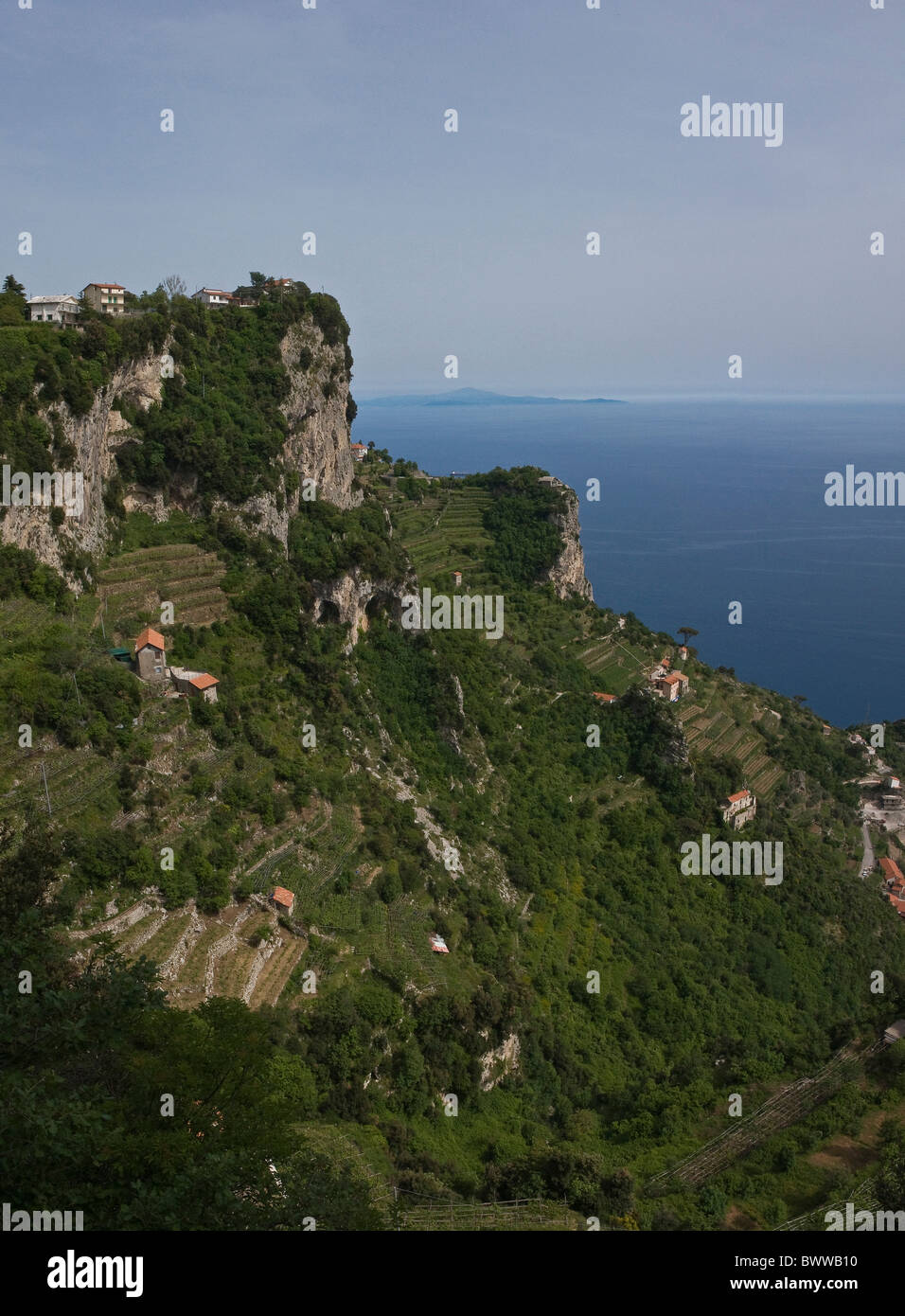 Italy Europe Colle La Selle Bomerano Amalfi coast Campania region spring sea coast mountains Mediterranean - Stock Image