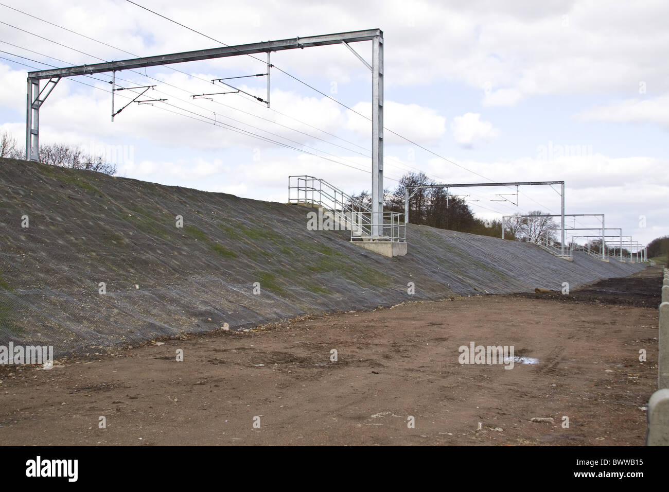 Railway embankment with mat netting used controle - Stock Image