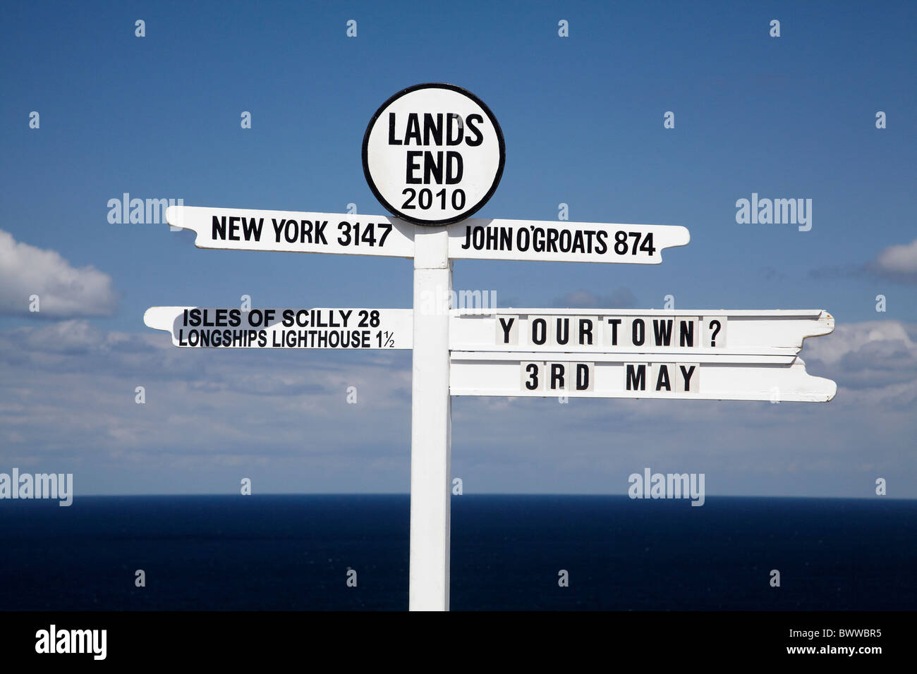 Distance and direction sign, Land's End, Cornwall, England, United Kingdom - Stock Image
