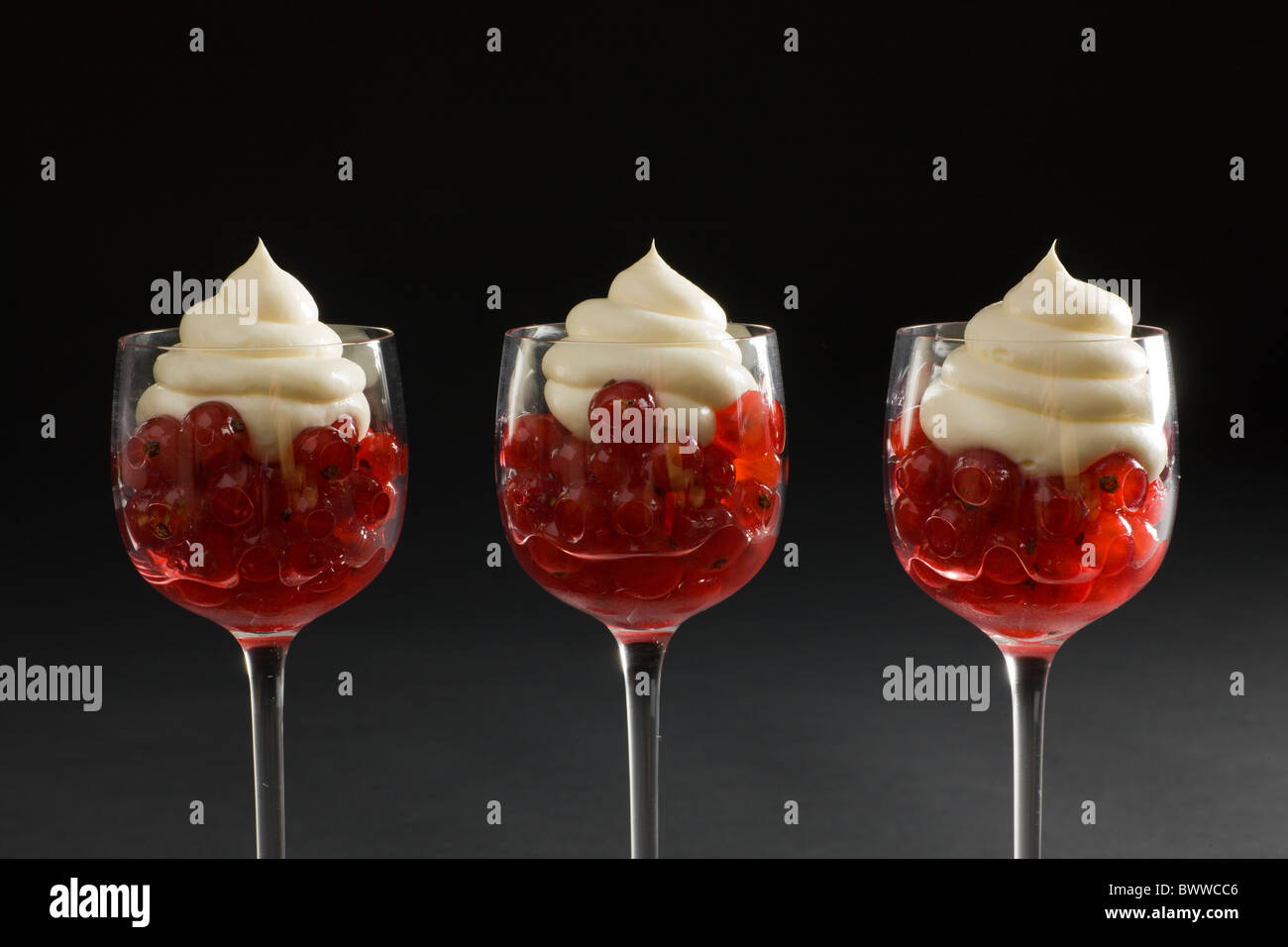 Red Currants in a Tangy Syrup in elegant stem glasses, topped with a Creamy Swirl on a dark background. - Stock Image