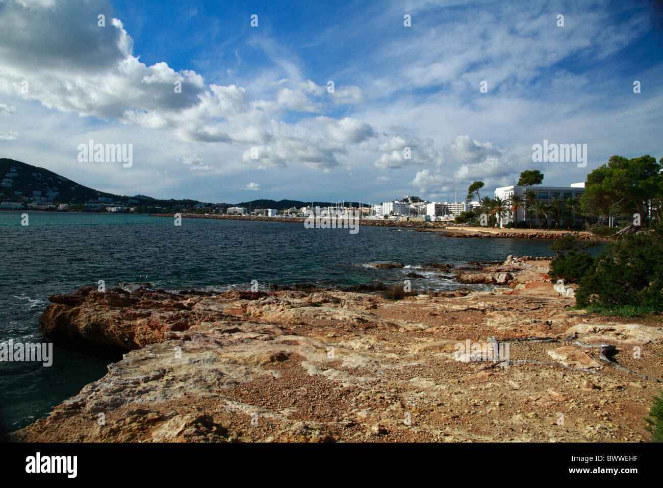 Santa Eulalia shoreline, Ibiza, Spain Stock Photo