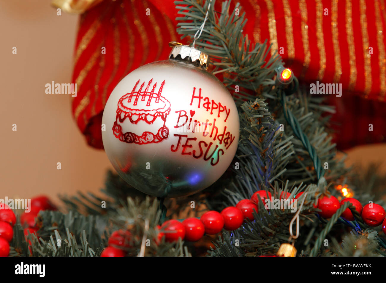 happy birthday christmas ornament on a christmas tree stock image