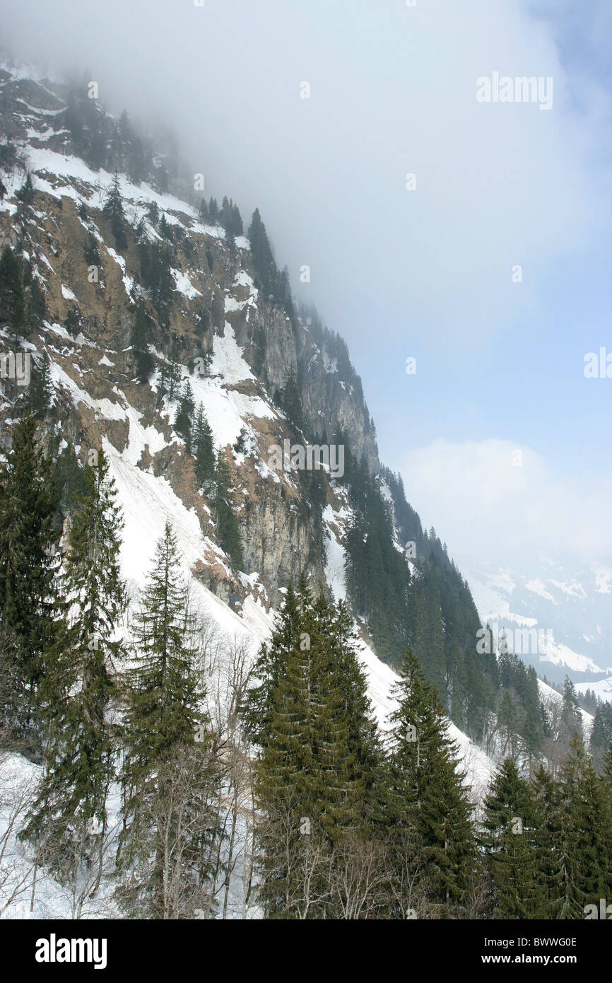 Steep cliff at Swiss Alpine Mountain range. View from Mt Titlis in Switzerland. - Stock Photo