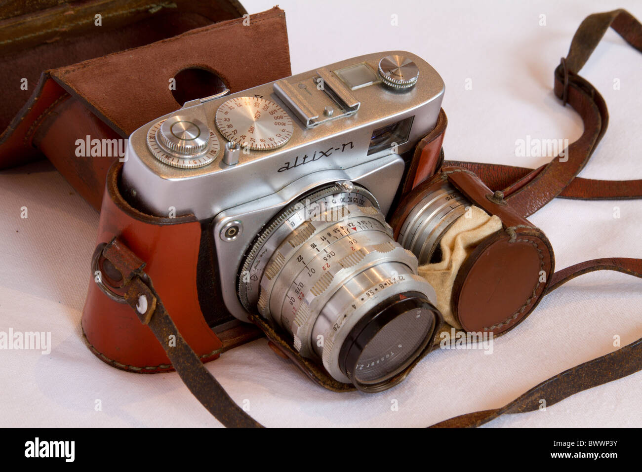 old 35mm camera Altix with filters - Stock Image