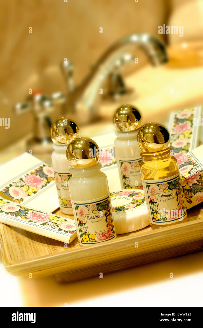 Bath and shampoo in a hotel bathroom Stock Photo