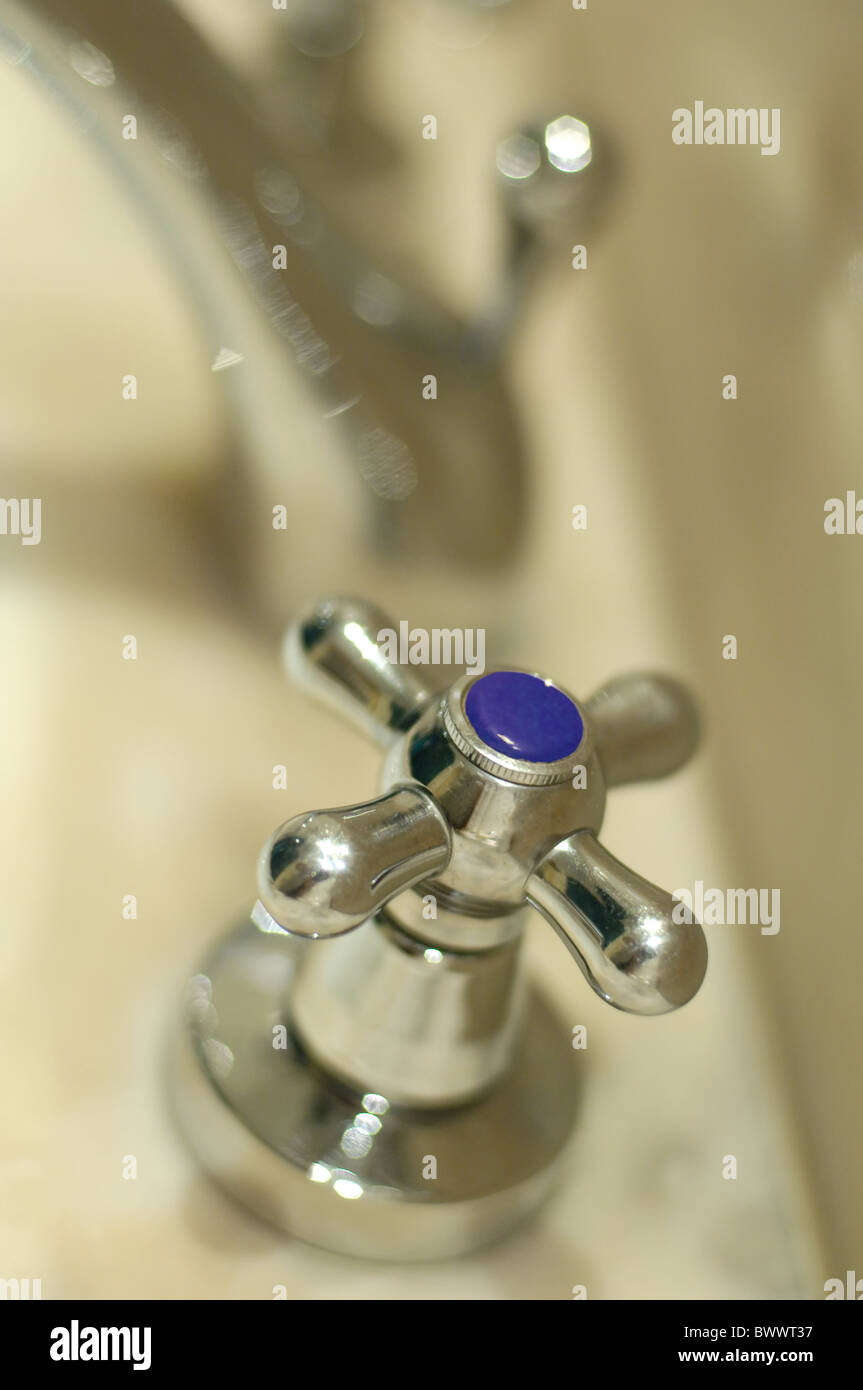 Marble bath and faucet Stock Photo