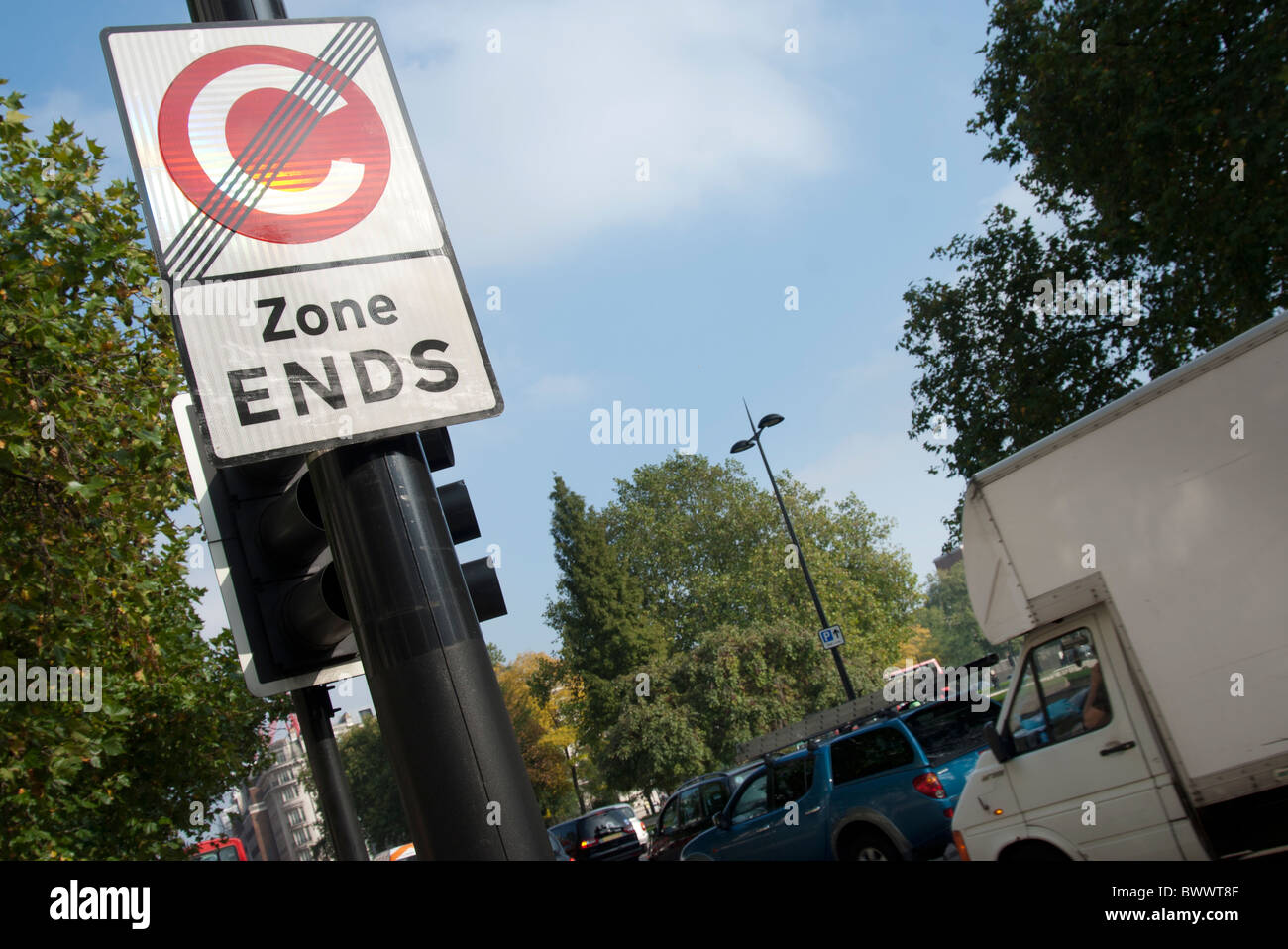 London congestion charge sign post - Stock Image
