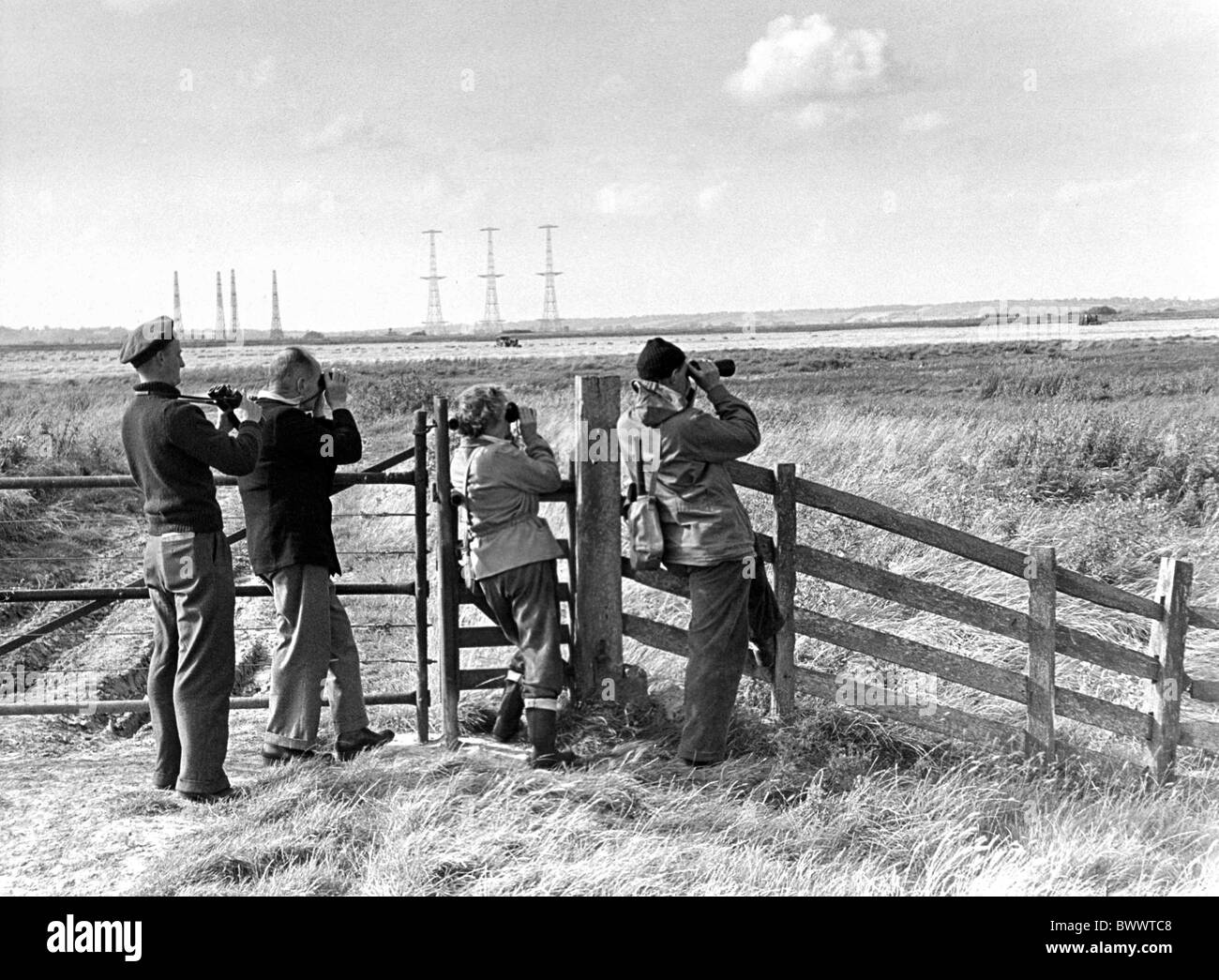 Bird Watchers Romney Marsh taken late 1940's - Stock Image