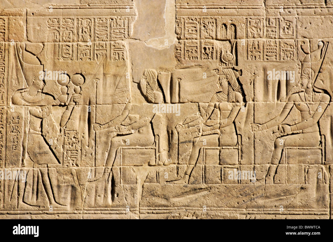 Bas-relief at the ancient temple for Isis on the island of Philae on the Nile river, Egypt. - Stock Image