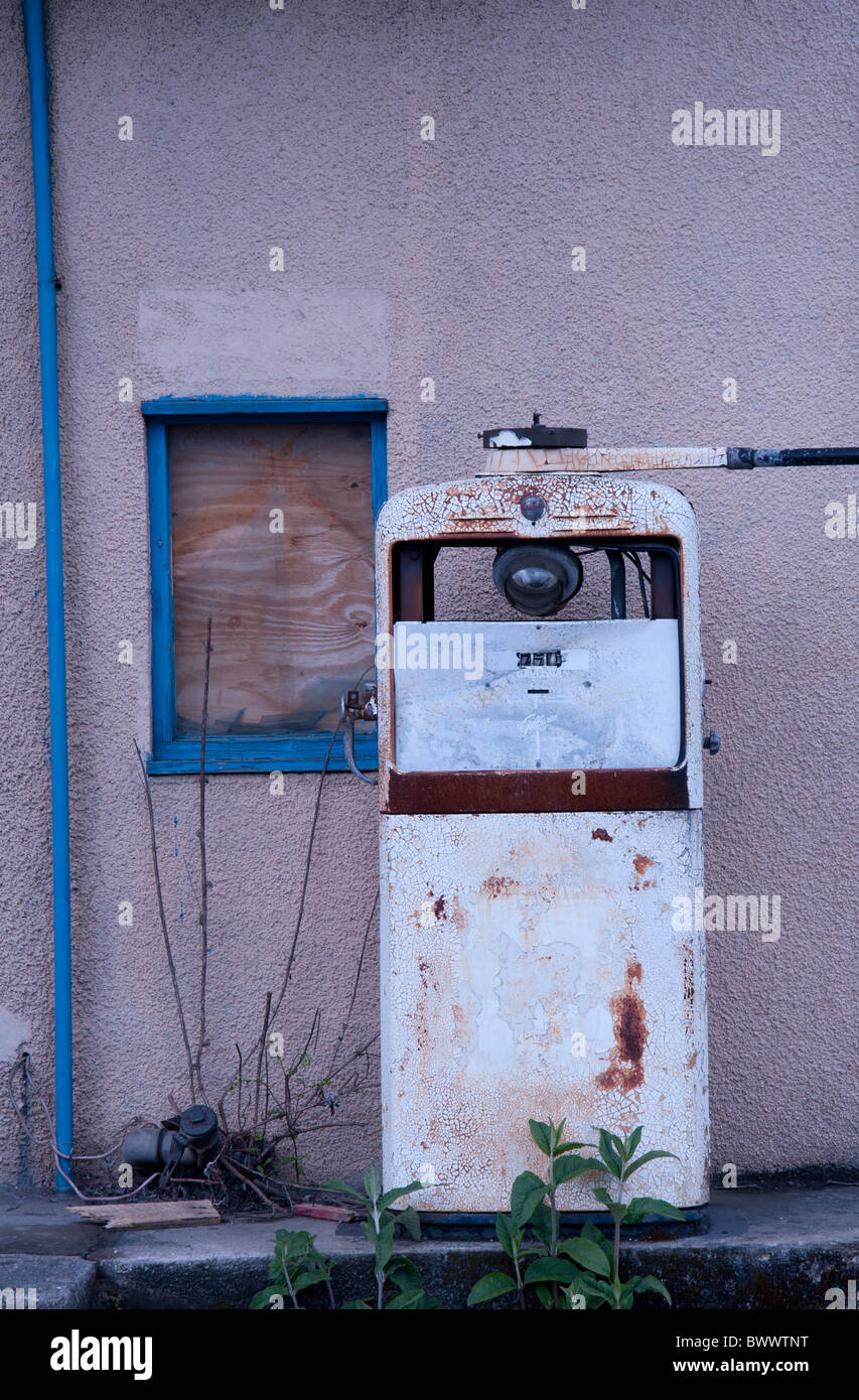 a old petrol pump in Cardigan west wales - Stock Image