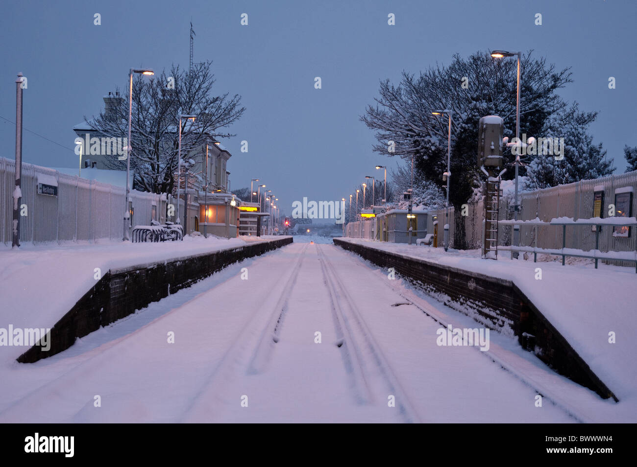 Southern Railways have canceled all trains until at least mid-morning. Worthing station remains closed. - Stock Image