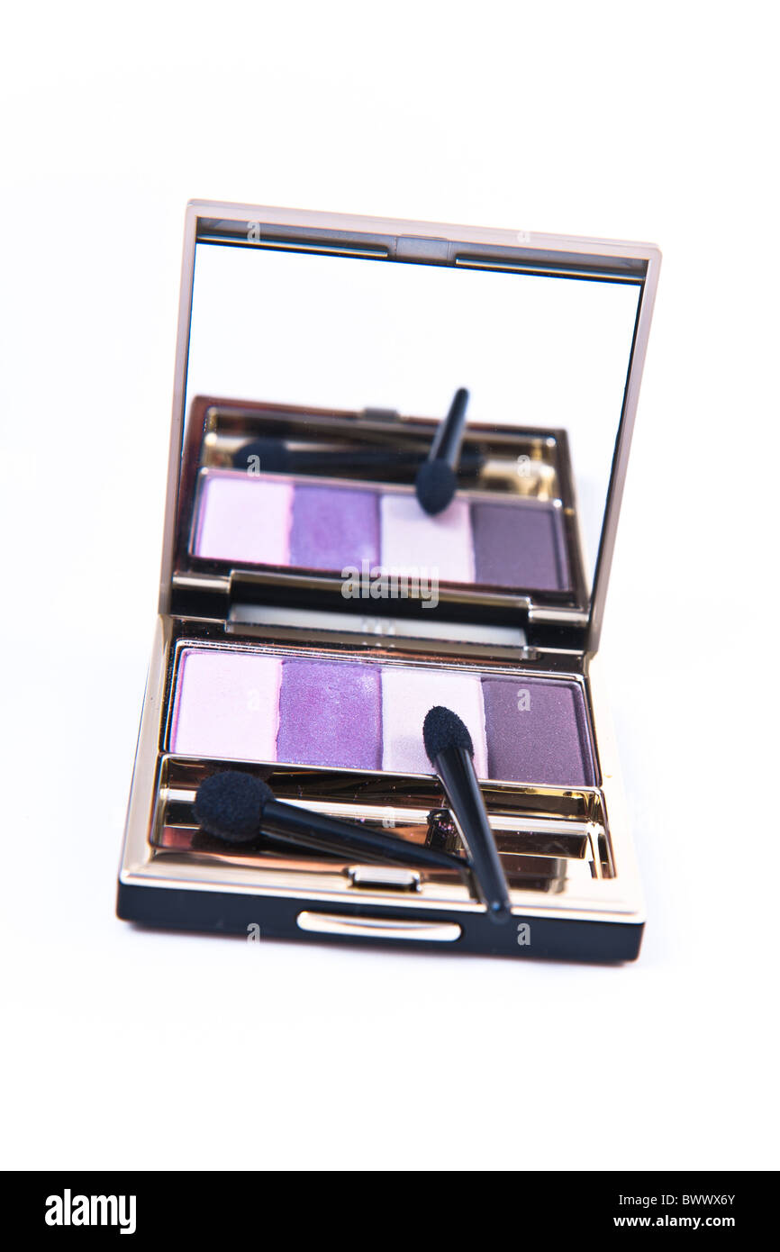 eyeshadow set with brush on white background - Stock Image