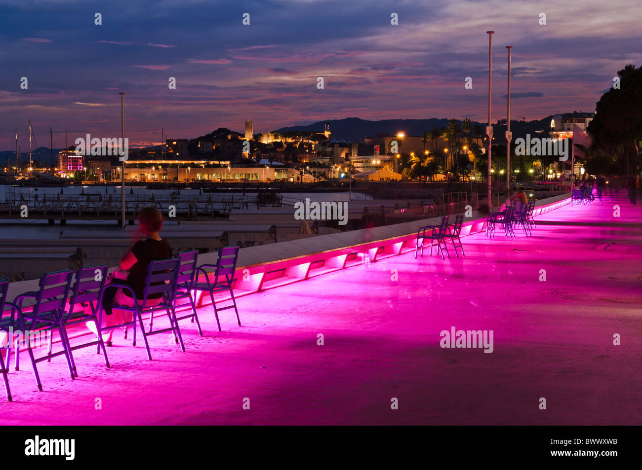 Colourful lighting on the promenade in the ' Croissette' area of Cannes Stock Photo
