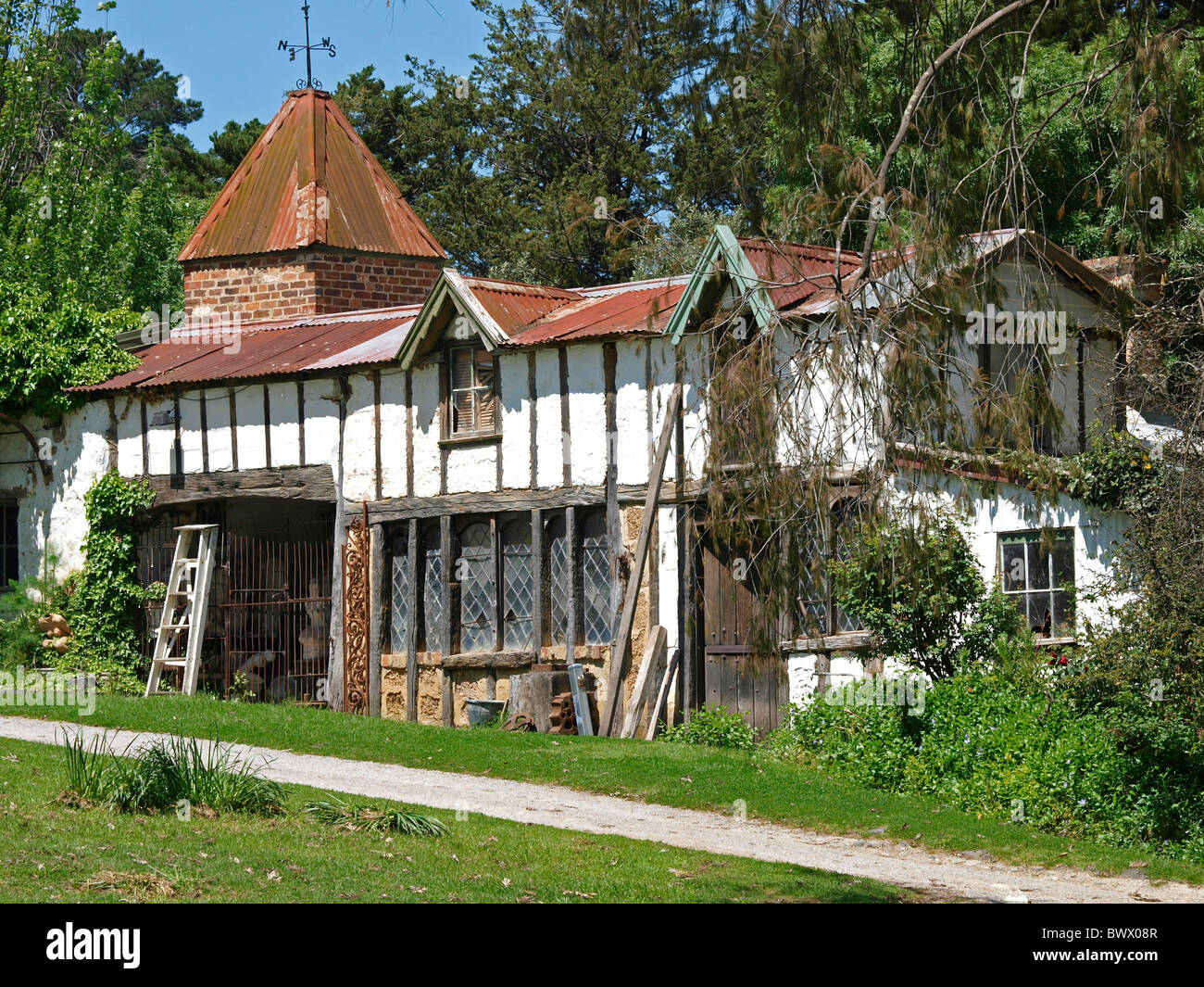FRENCH PROVINCIAL STYLE COTTAGE AT MONTSALVAT , ARTIST COMMUNITY  VICTORIA - Stock Image