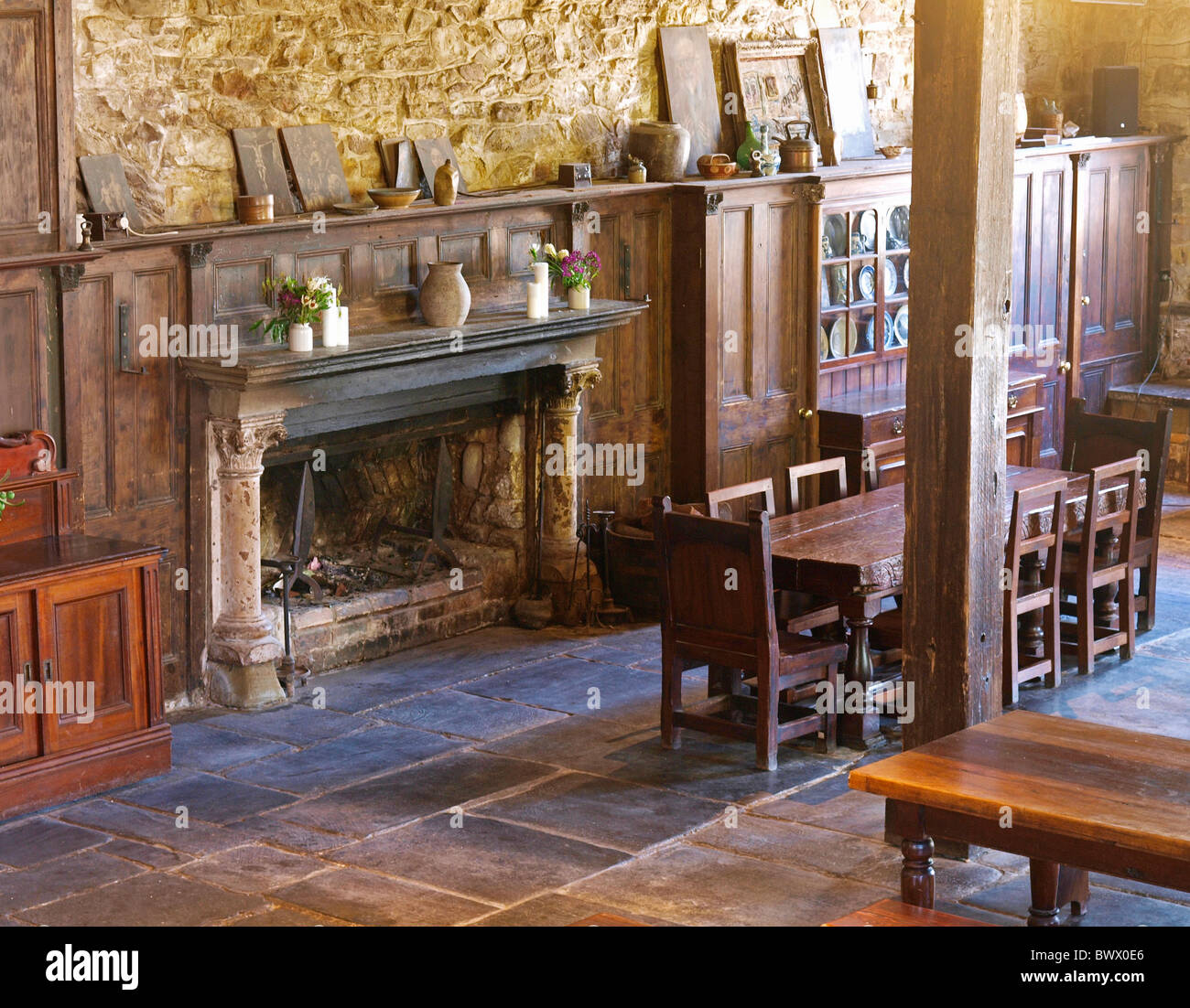 FIRE PLACE IN THE GREAT HALL AT MONTSALVAT , ARTIST COMMUNITY  VICTORIA AUSTRALIA - Stock Image