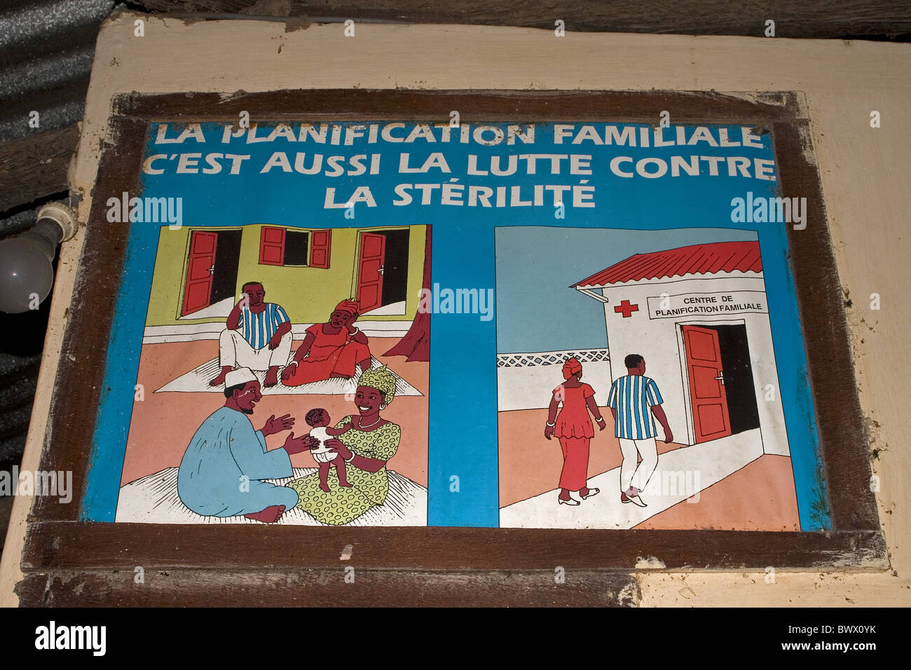 Family planning publicity poster, Senegal - Stock Image
