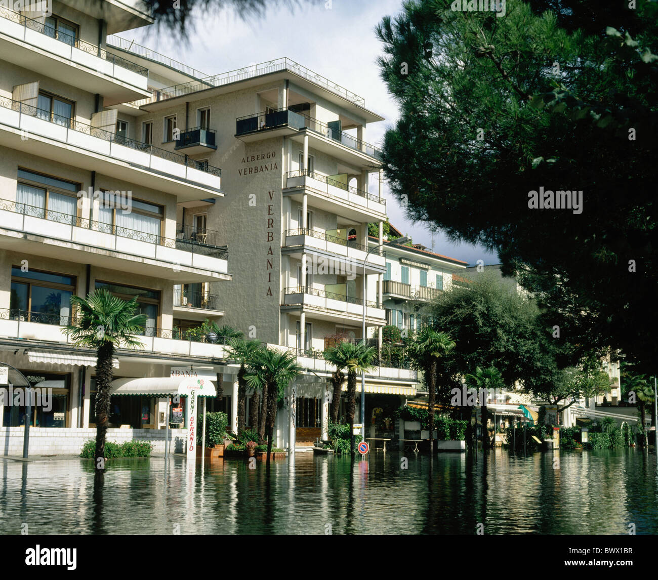 houses homes autumn in 1993 high water Lucerne Switzerland Europe street Ticino floods flood - Stock Image