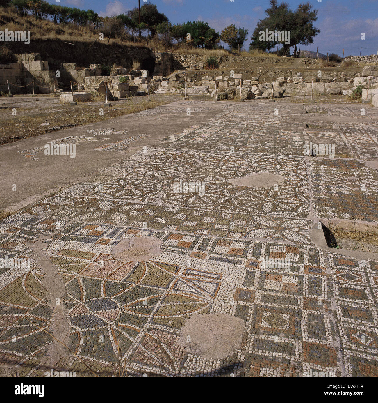 Cyprus west Soli archeology mosaic floor antique Ancient world antiquity - Stock Image