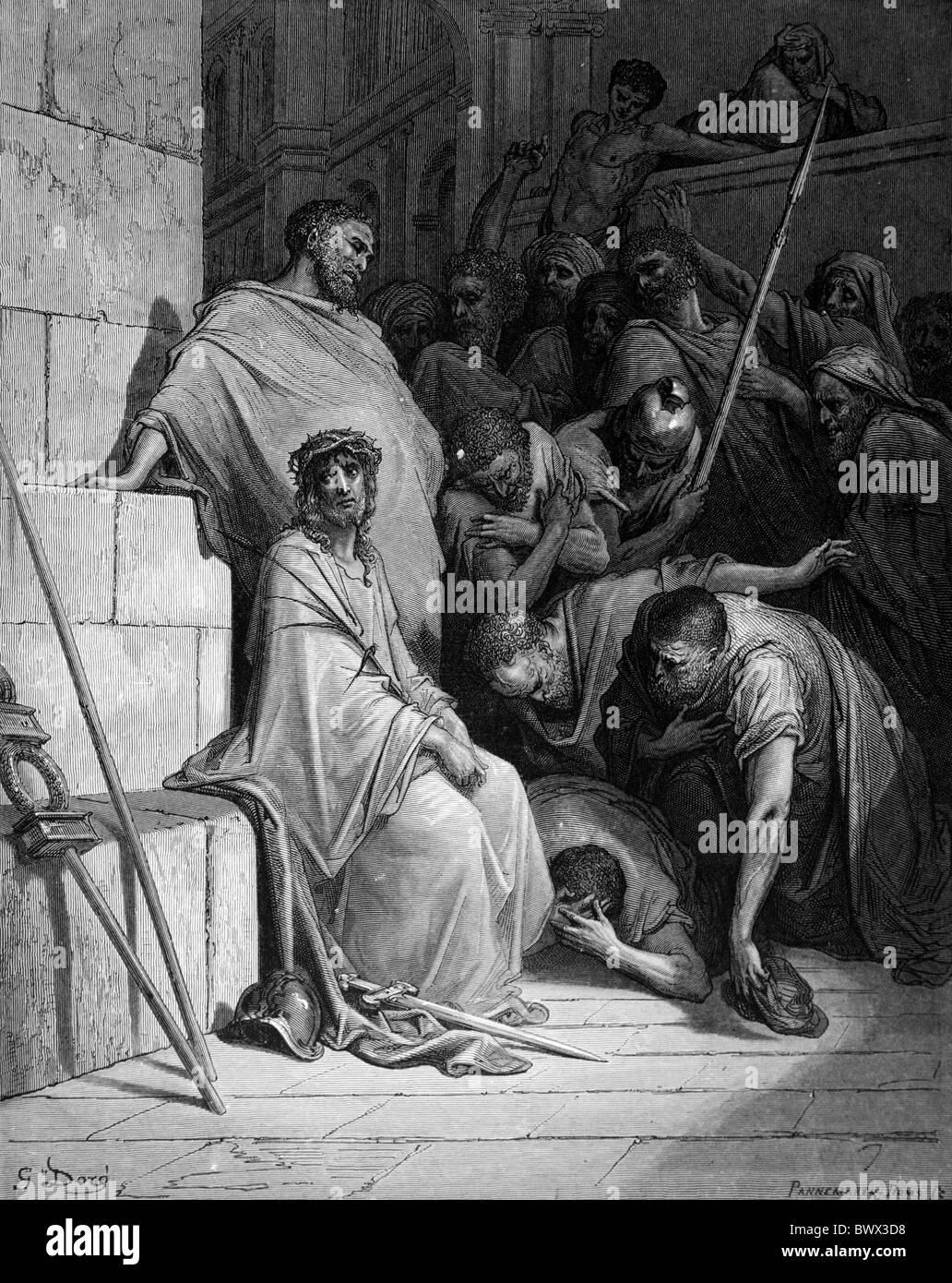 Gustave Doré; The Passion; Christ Mocked; Black and White Engraving - Stock Image