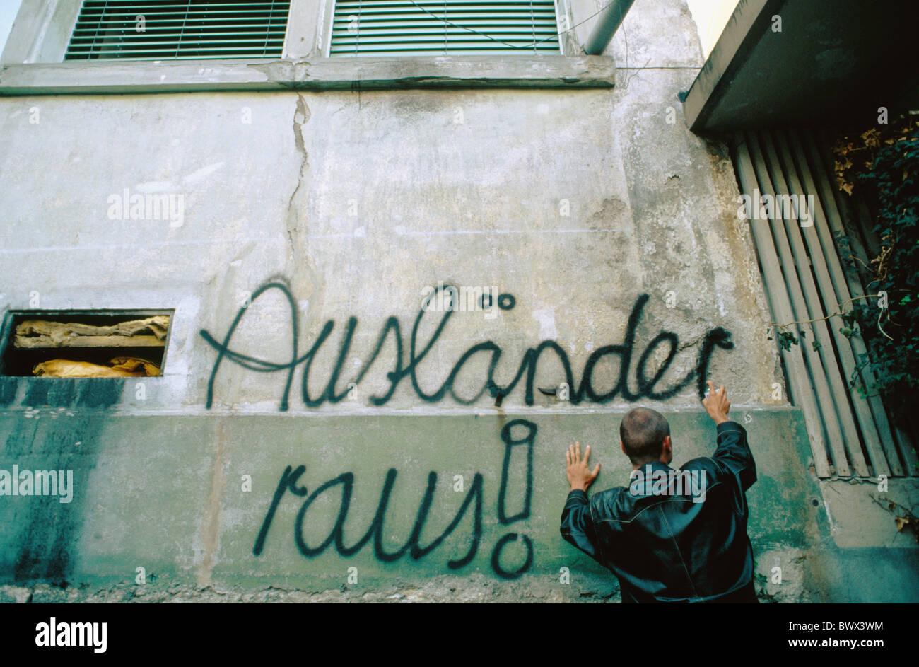 foreigners out hostility foreigners xenophobia xenophobia house wall slogan password racism skinhead socia - Stock Image
