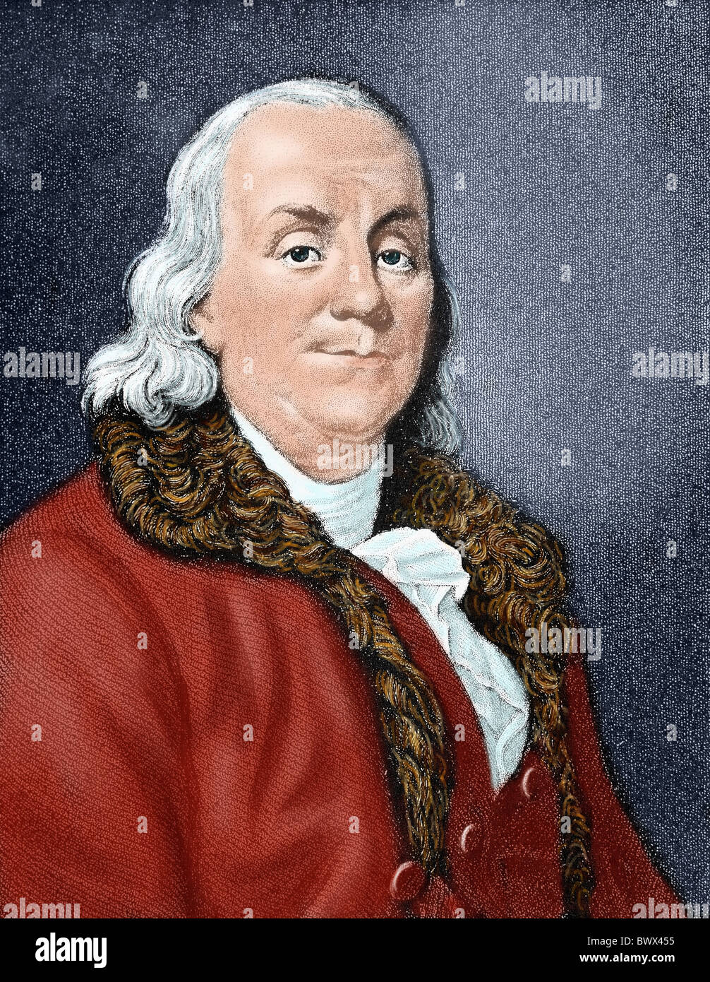 Franklin, Benjamin (1706-1790). American statesman and scientist. Colored engraving. - Stock Image