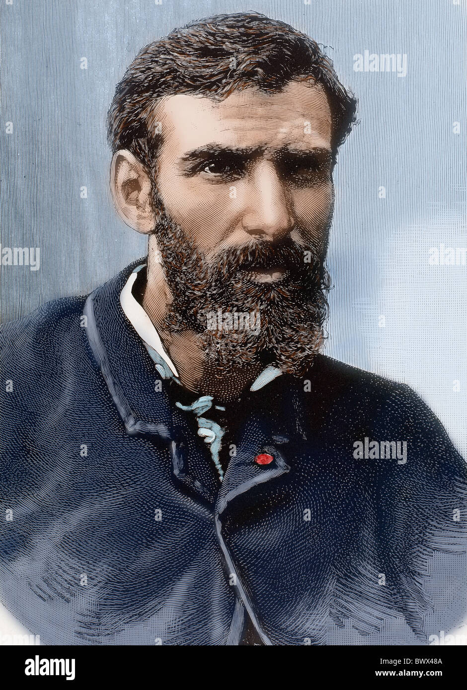 Brazza, Pierre-Paul Savorgnan de (1852-1905). French explorer and navigator of Italian origin. Colored engraving. - Stock Image