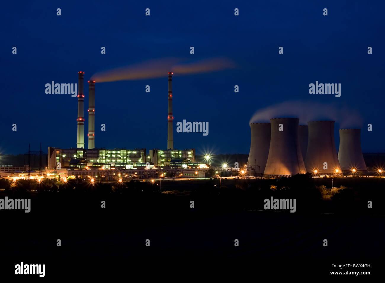 the steam turbine power plant Pocerady by night - Czech Republic - Stock Image