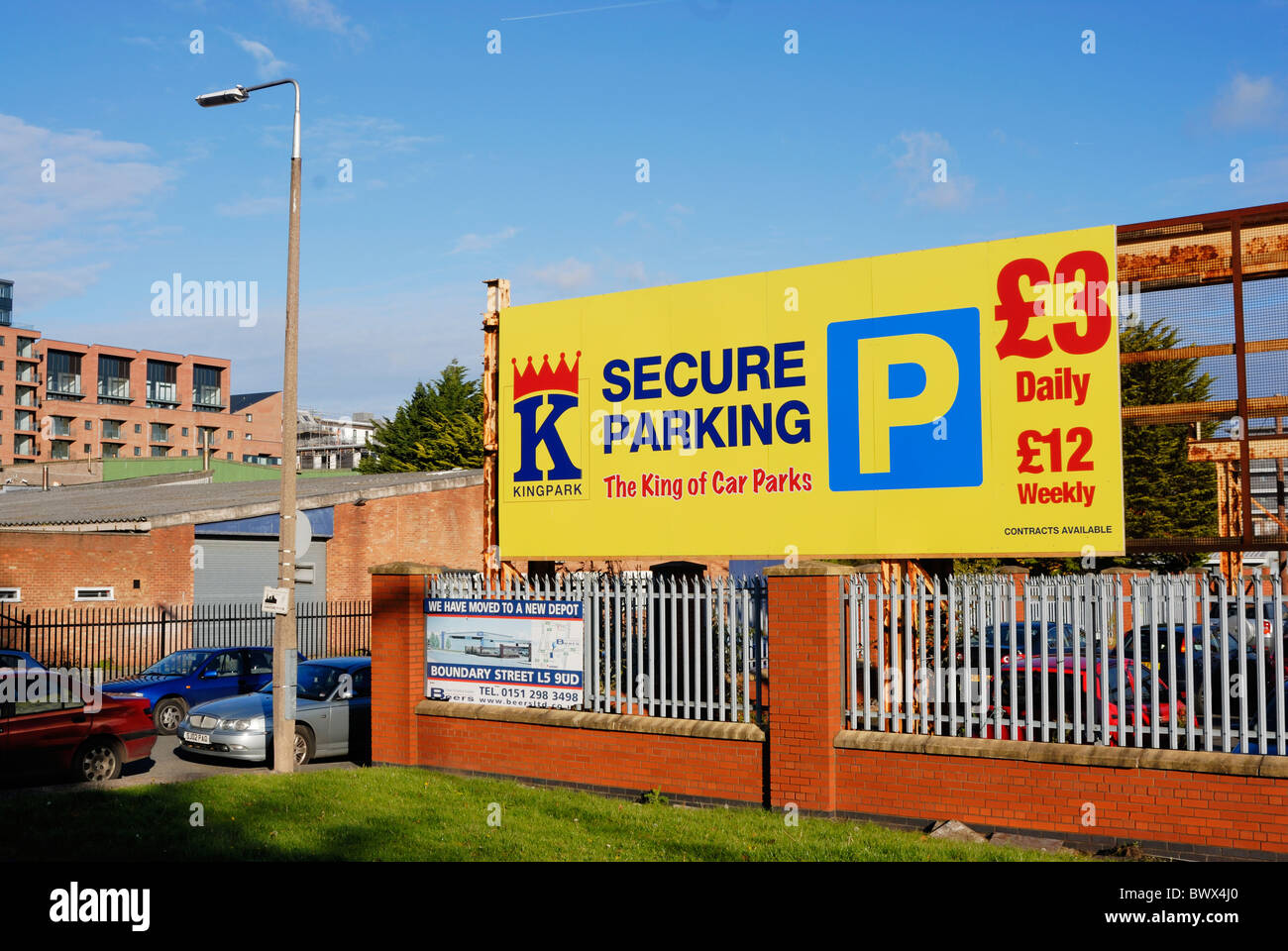 Off street secure parking near Liverpool city centre. - Stock Image