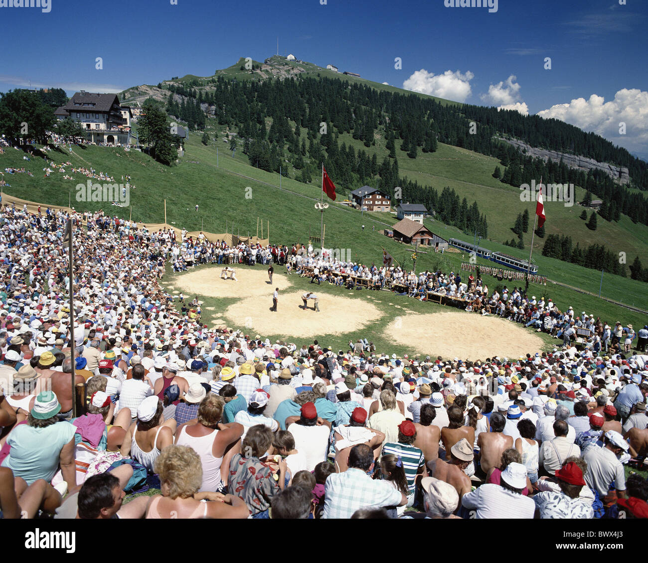tradition folklore battlefields Rigi Switzerland Europe Swiss wrestling swings sport overview - Stock Image