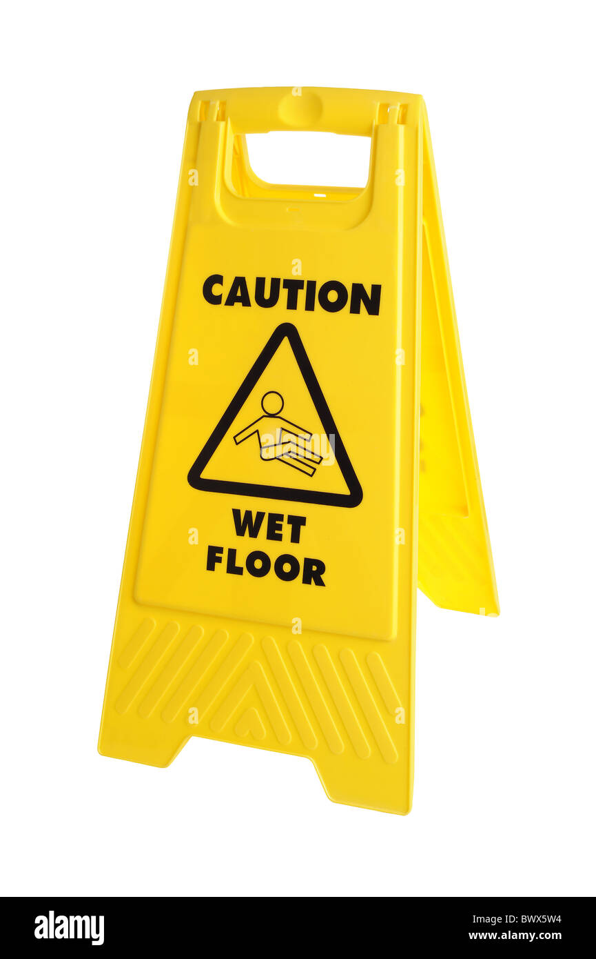 Yellow Caution wet floor sign - Stock Image