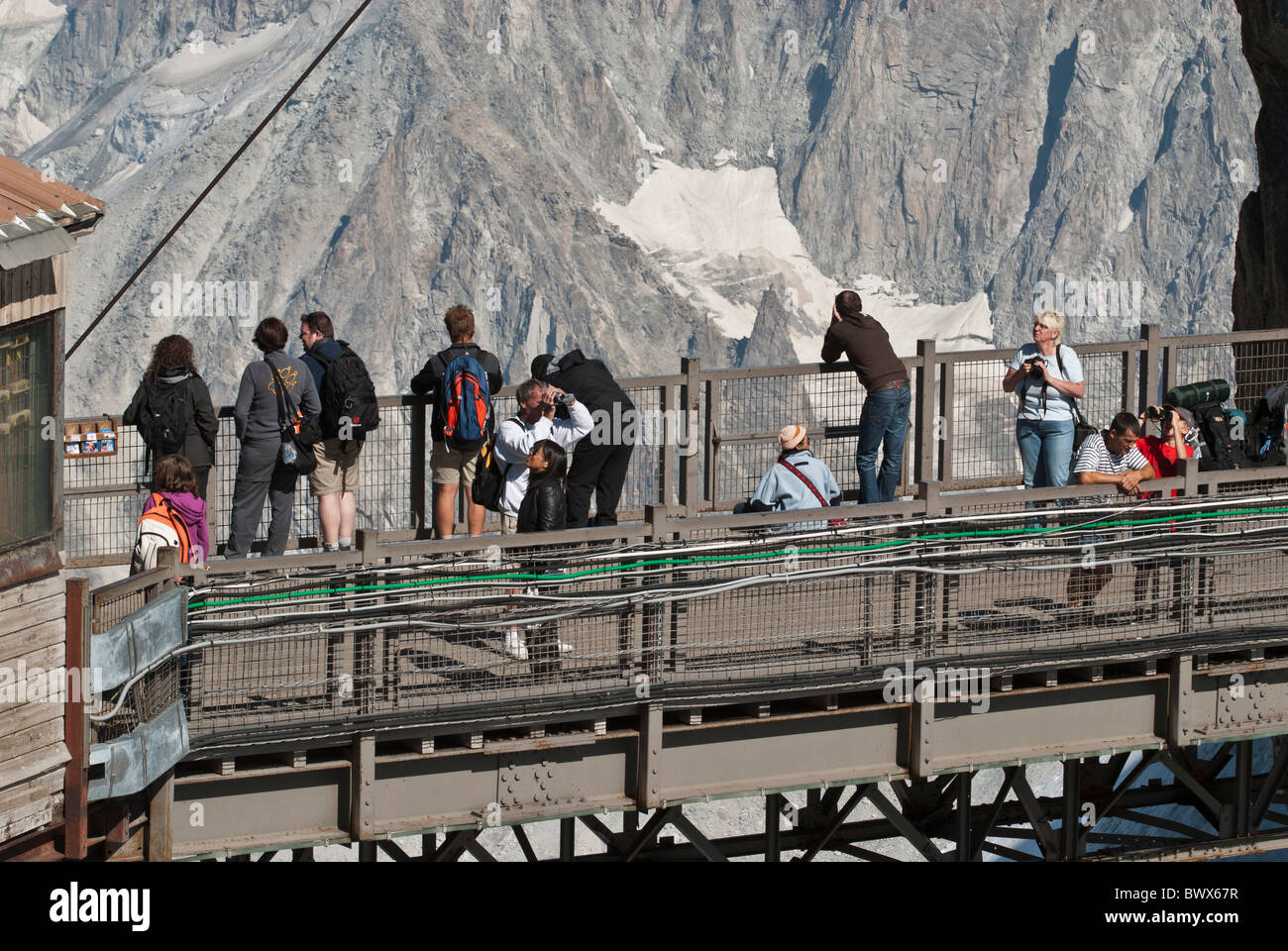 The bridge viewing platform Aiguille du midi cable car station Chamonix, Haute-Savoie, France massif du Mont Blanc. - Stock Image