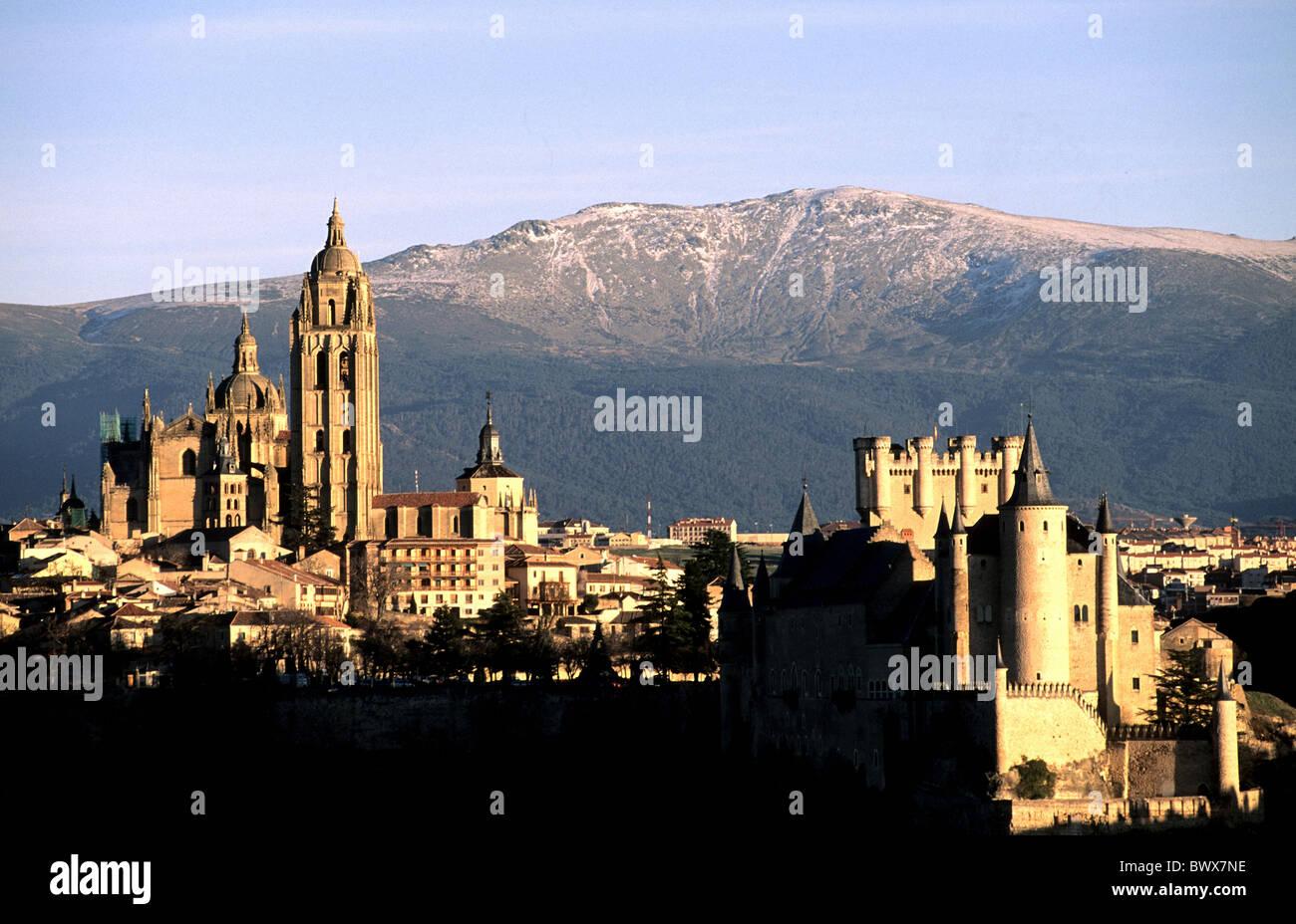 Spain Europe Segovia overview evening mood Sierra de Guadarrama mountains Stock Photo