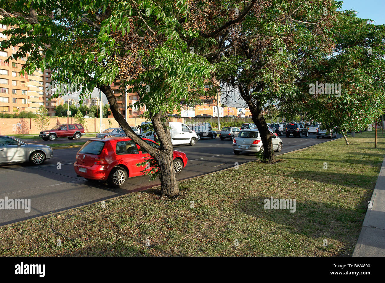 High congestion of cars in the city of Santiago - Stock Image
