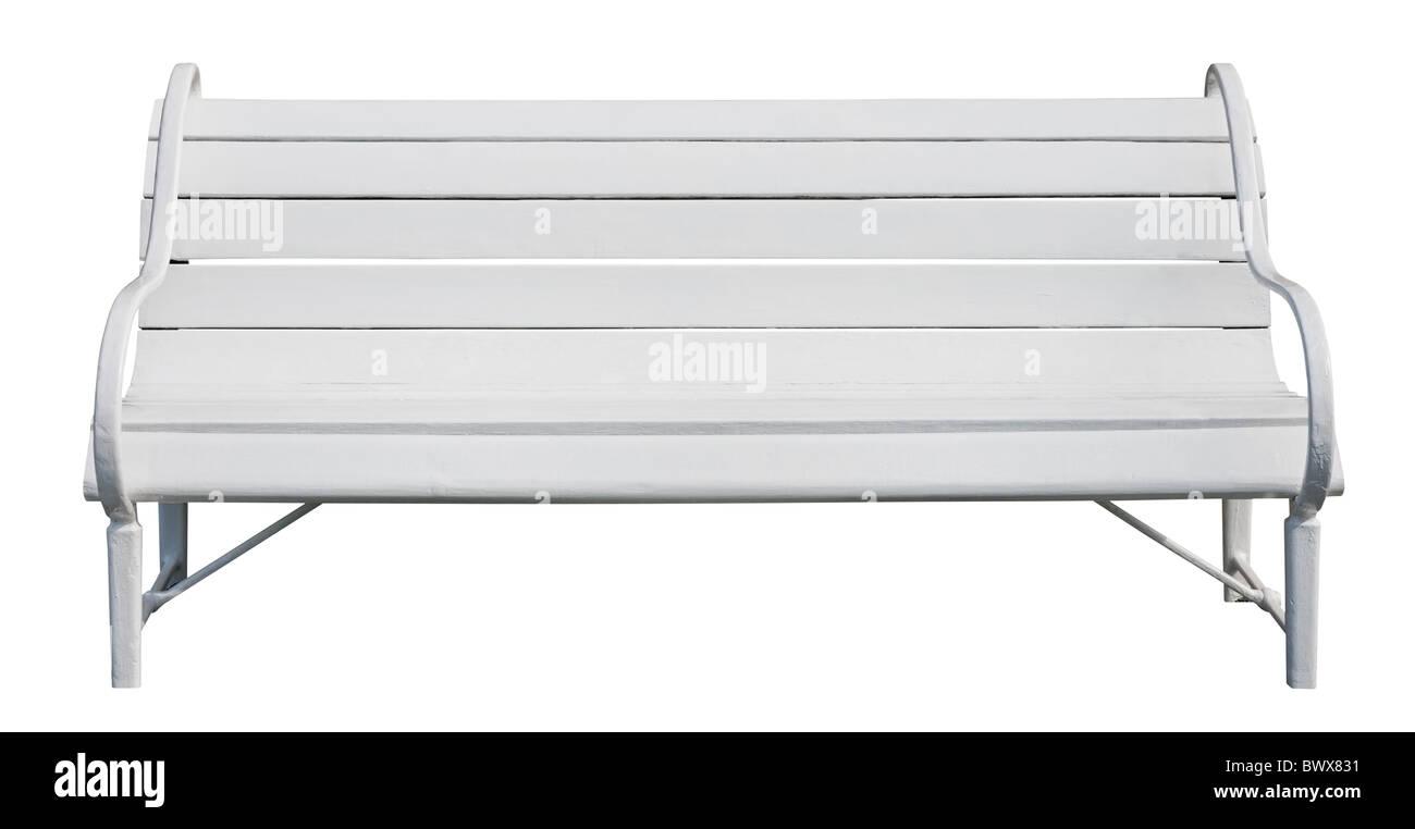 White park bench isolated on white background - Stock Image