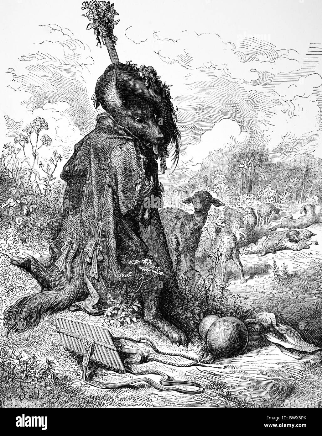 Gustave Doré; The Wolf Turned Shepherd from Jean de la Fontaine's Fables; Black and White Engraving - Stock Image