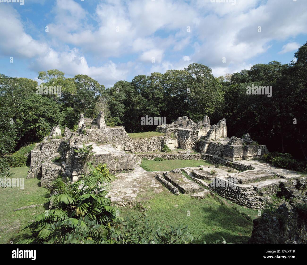 South America Guatemala culture Maya culture ruins temple stairs Uaxactun vegetation - Stock Image
