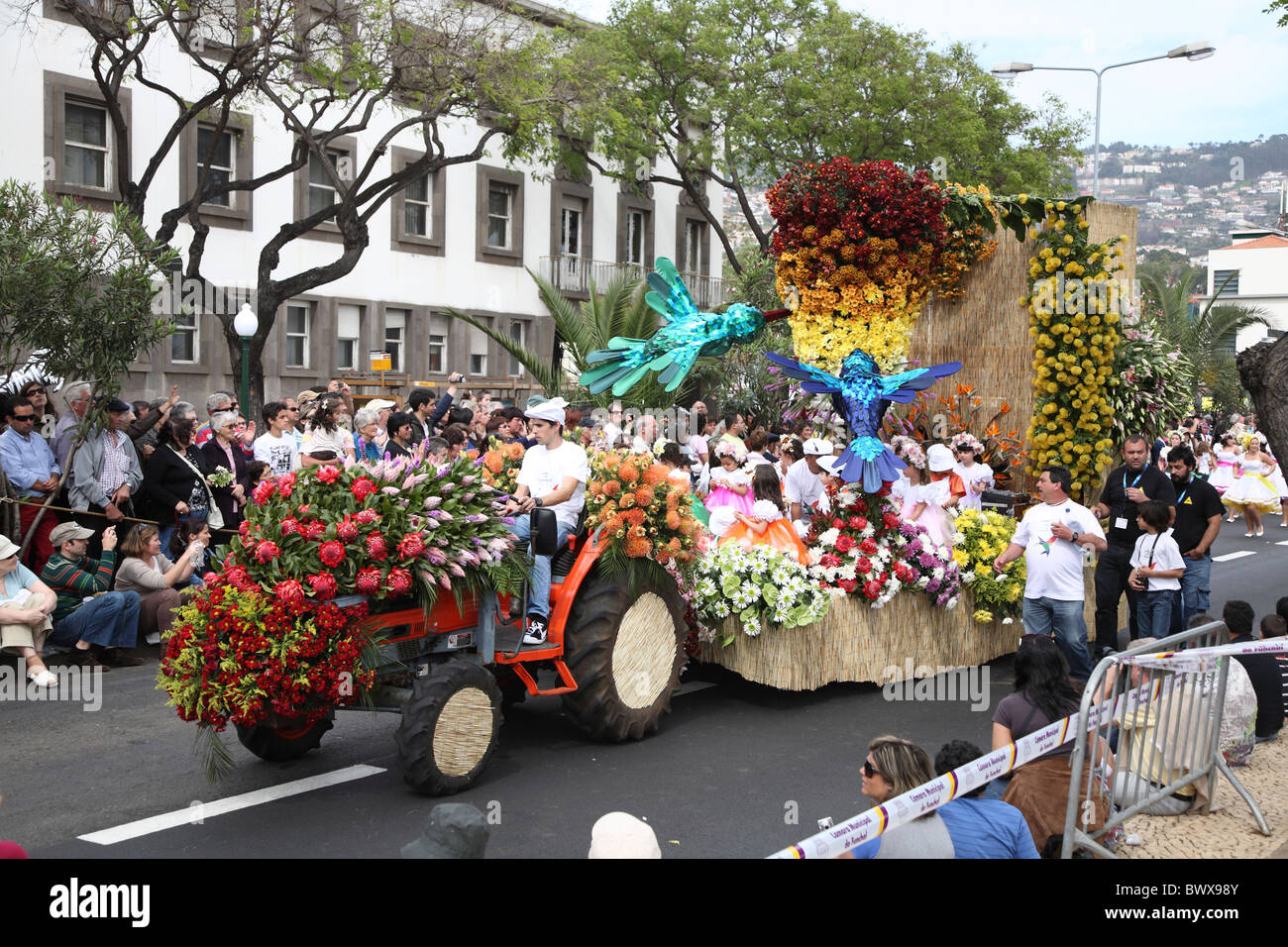 Portugal Madeira Funchal Festa da Flor Flower Festival Procession - Stock Image