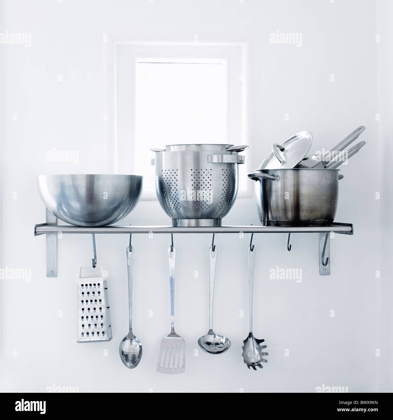 Chrome Kitchen Utensils. - Stock Image