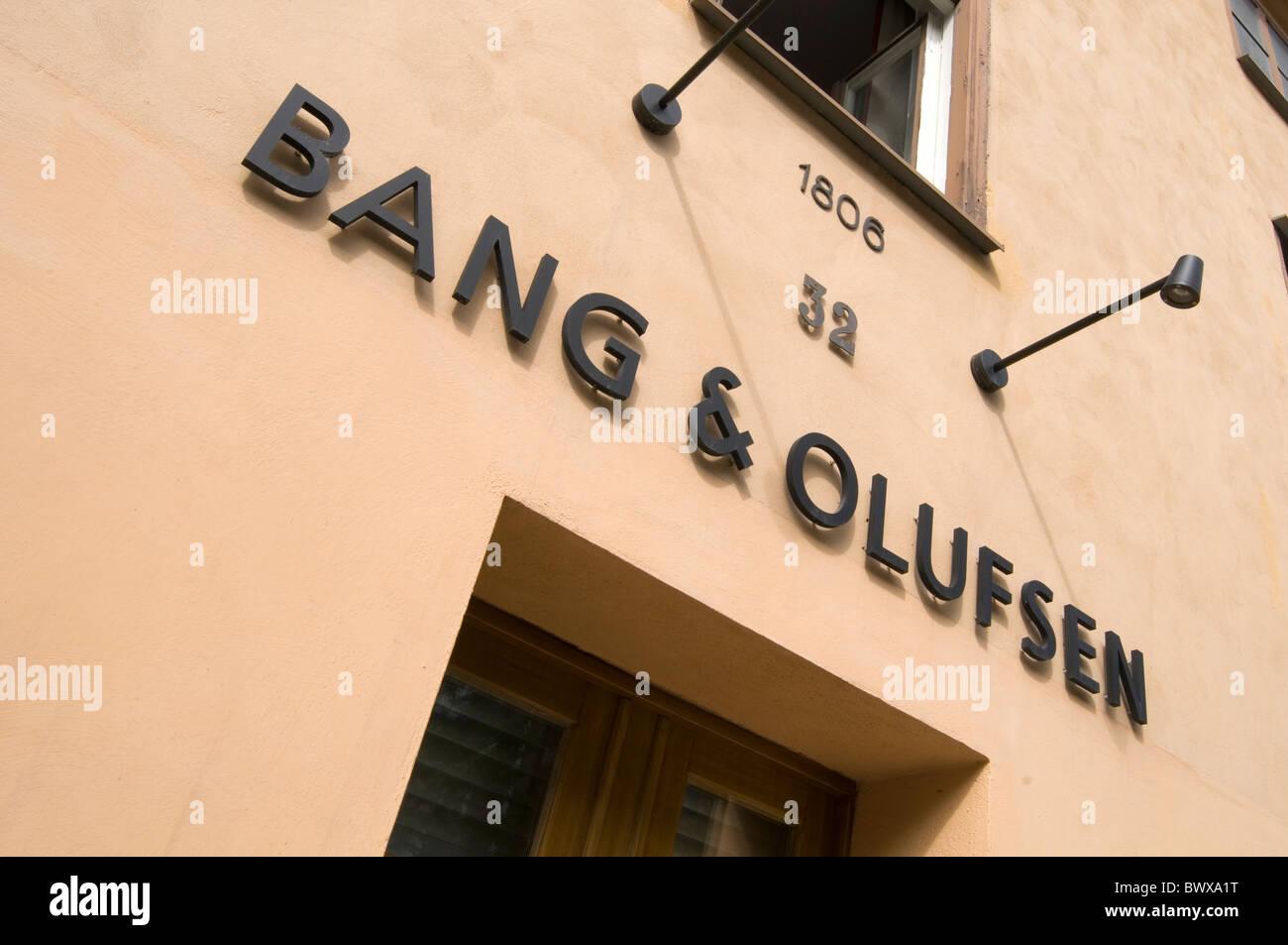 Bang & Olufsen B&O danish hi fi equipment manufacturer style stylish audio tv television denmark shop shops - Stock Image